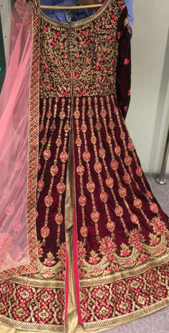 Beautiful designer long top lengha suit