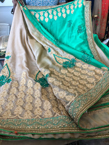 Beautiful designer half & half heavily embroidery saree