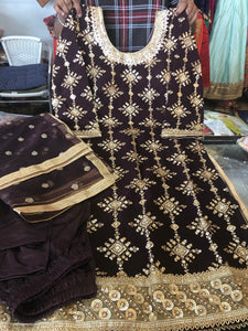 Beautiful designer straight suit with Churidar