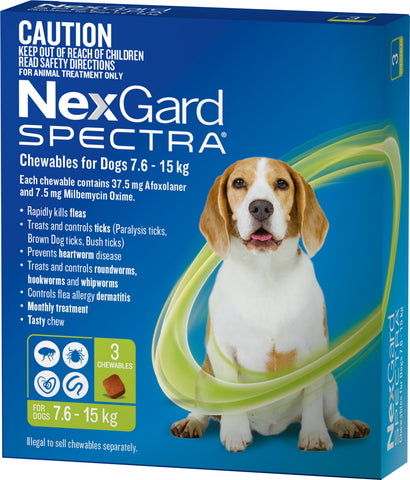 Nexgard Spectra Green For Dogs 7.6-15kg