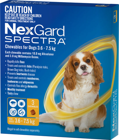 Nexgard Spectra Yellow For Dogs 3.6-7.5kg