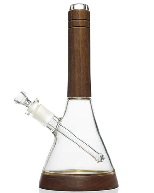 Walnut Wood Accented Beaker Bong