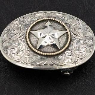 Sterling Silver Star Trophy Buckle with 14k gold rope