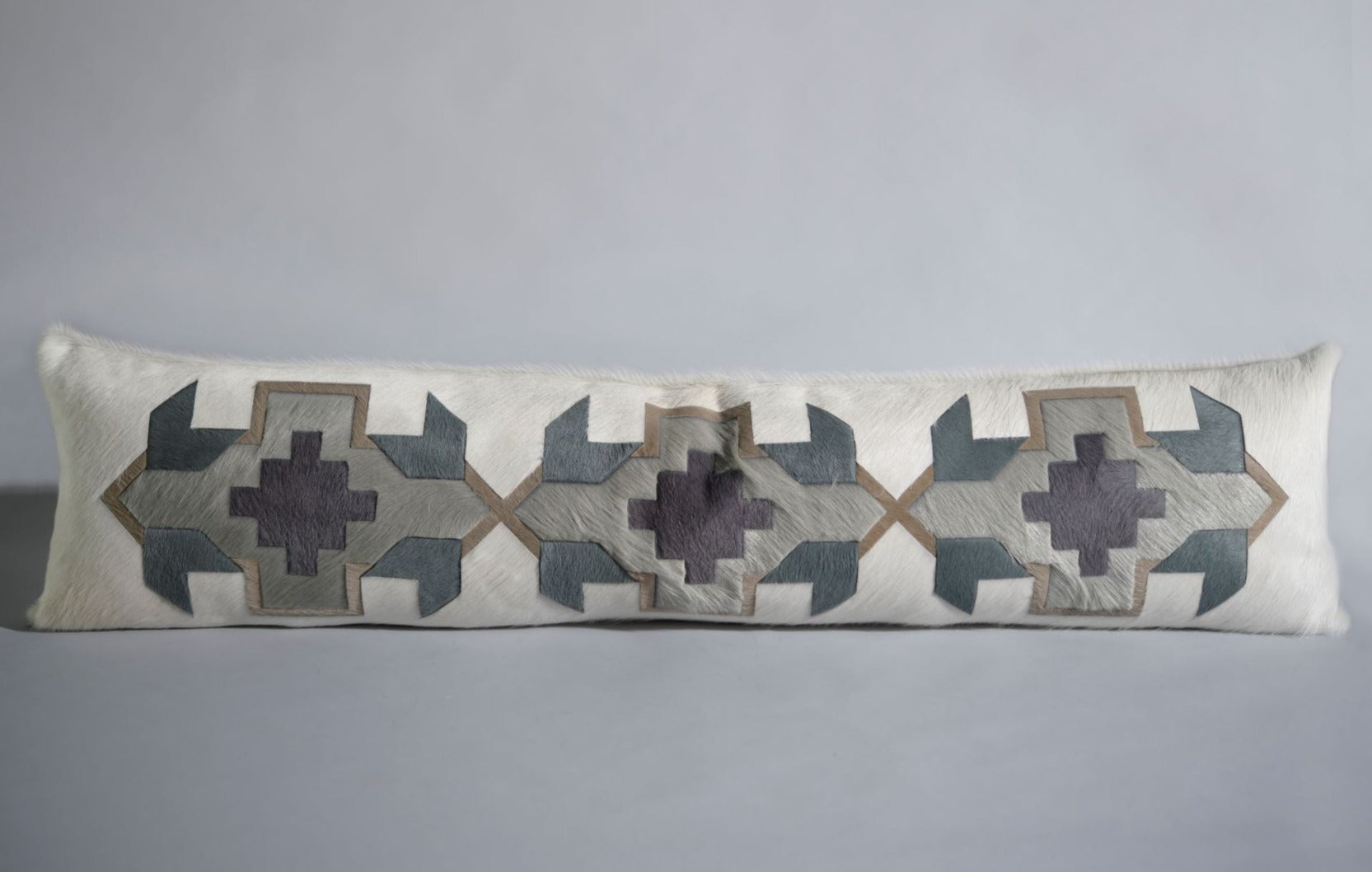 King Lumbar Pillow - Cream & Slate