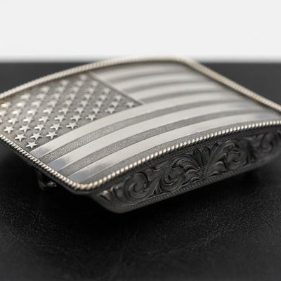 Sterling Silver American Flag Buckle