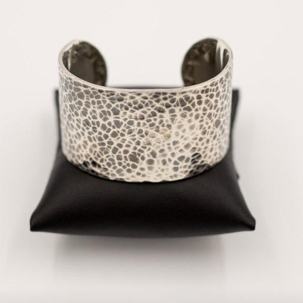 Sterling Silver Hammered Finish Cuff Bracelet