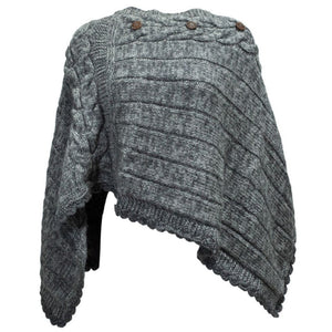 Buttoned Merino Wool Poncho