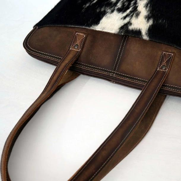 Cowhide Zippered Tote Bag