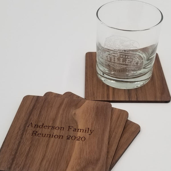 Square Coasters in Walnut - Set of Four