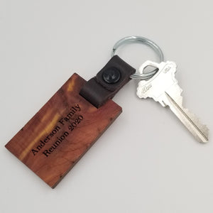 Leather Key Chain in Cedar