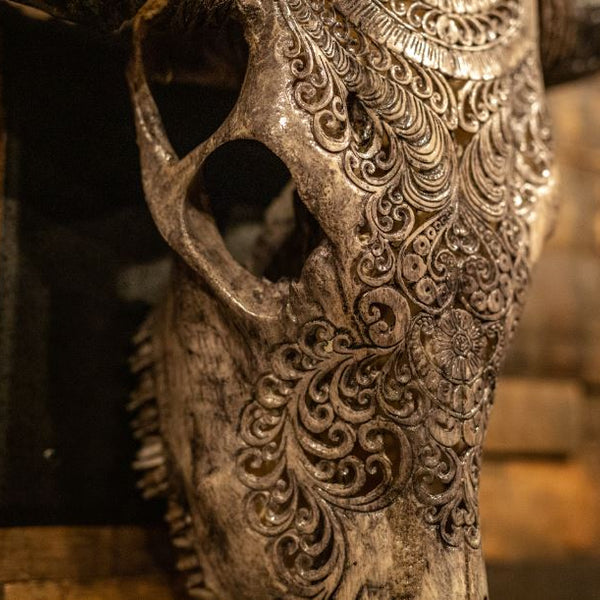 Carved Cow Skull: The Grey Sun