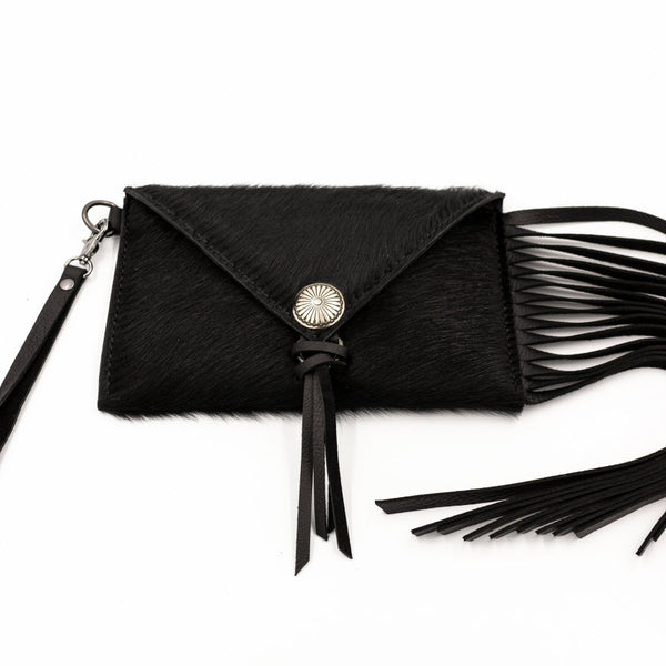 Black Cowhide Clutch