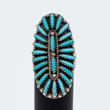Zuni 1980s Needlepoint Sleeping Beauty Turquoise Ring