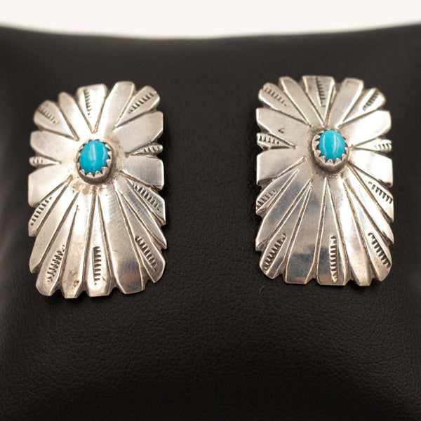 Sterling Silver Concho Earrings