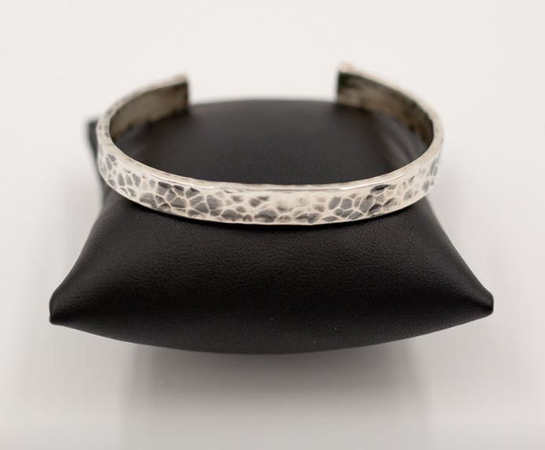 Sterling & Rose Gold Hammered Cuff Bracelet