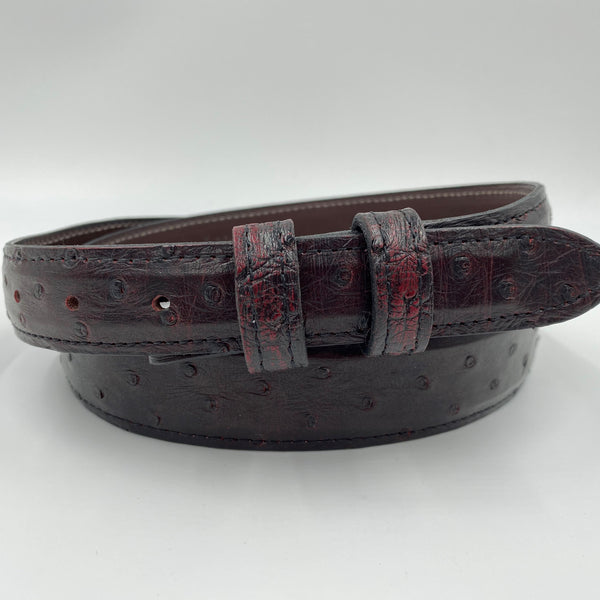 "Tapered 1.25"" Ostrich Belt - Black Cherry"