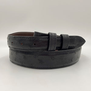 "Tapered 1.25"" Ostrich Belt - Smoke Grey"
