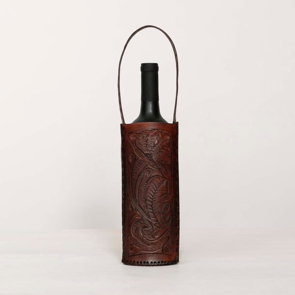 Hand Tooled Wine Tote