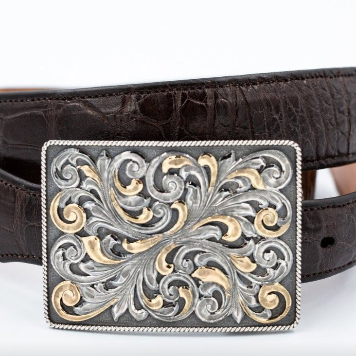 Hand Engraved, Trophy Belt Buckle - Sterling Silver and 14K Gold