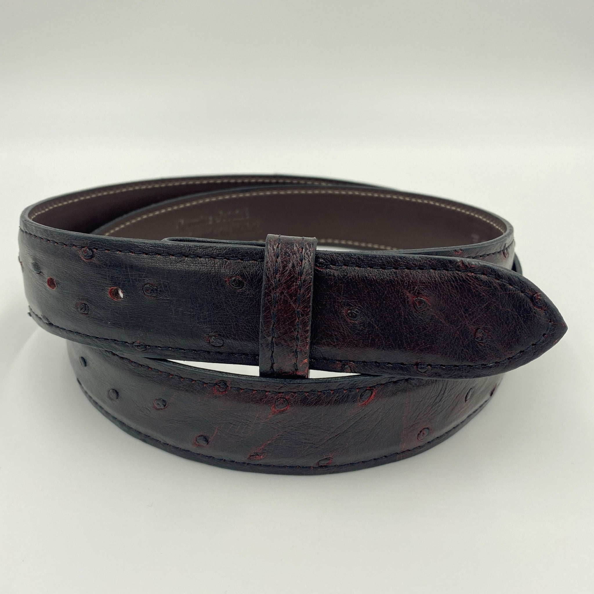 "1.25"" Ostrich Belt - Black Cherry"