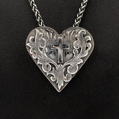 Heart Cross Pendant - Sterling Silver on 18 inch chain
