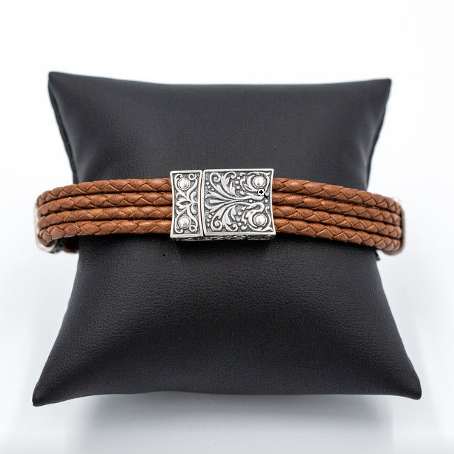 Palermo Bracelet - Sterling Silver & Leather