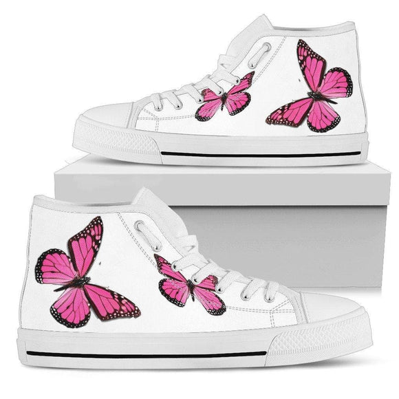 Pink Butterfly Shoes High Top Tall Shoes With Butterflies