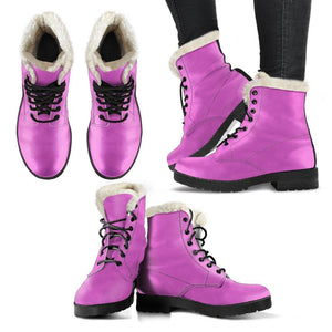 Faux Fur Pink Leather Boots Pink Boots For Women