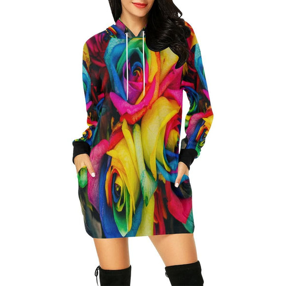 Colorful Roses Hoodie Dress