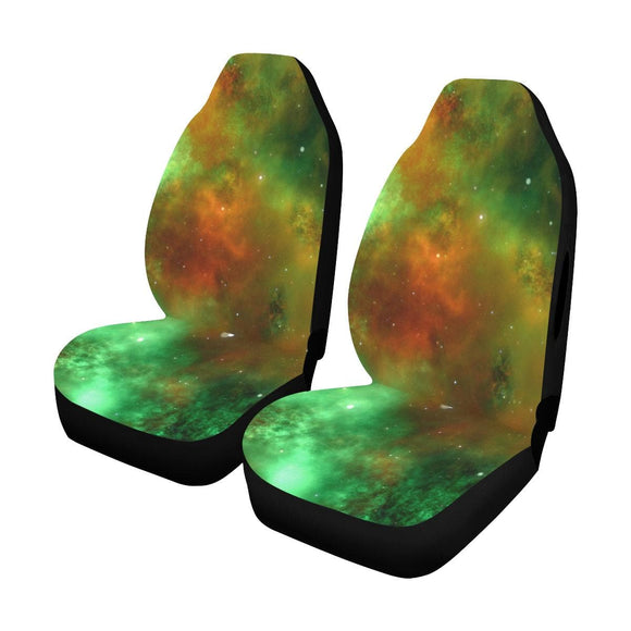 Green Orange Galaxy Space Car Seat Cover