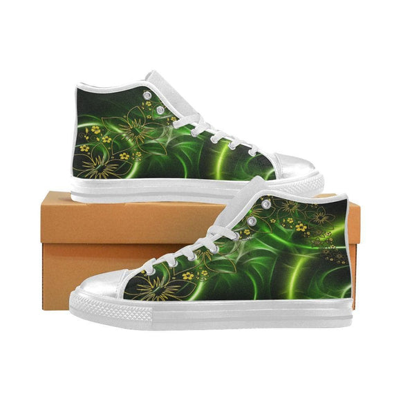 Green Flowers Of Light Women's Canvas High Top Shoes
