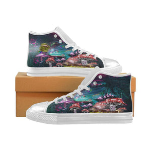 Frog Mushroom Land High Top Womens Canvas Shoes