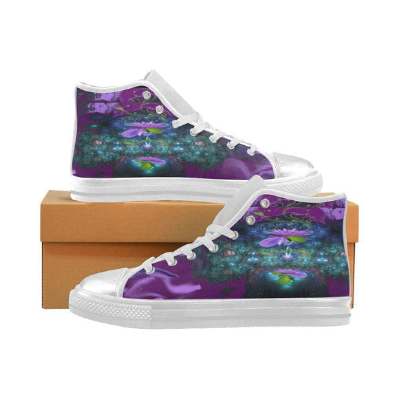 Purple Flower Lily Shoes For Women High Top Canvas