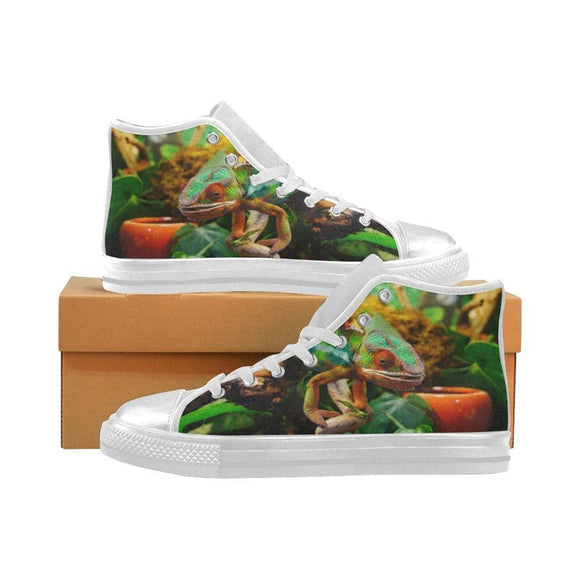 Chameleon Lizard Canvas High Top Shoes Bursting With Color