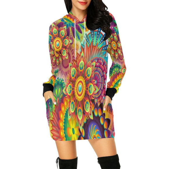 Mandala Collision Hoodie Dress