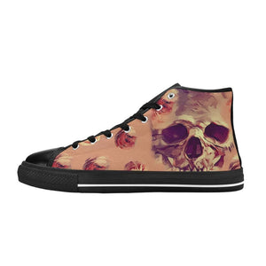 Skull and Roses High Top Shoes Black White Soles