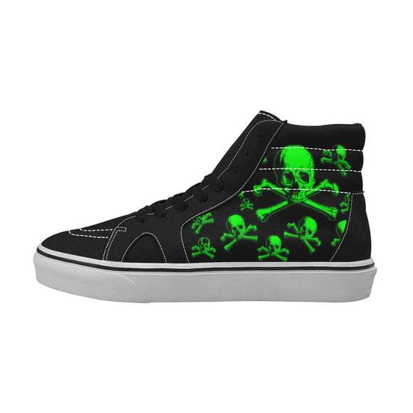 Skull Shoes For Men High Top Canvas Suede Style 8 Designs
