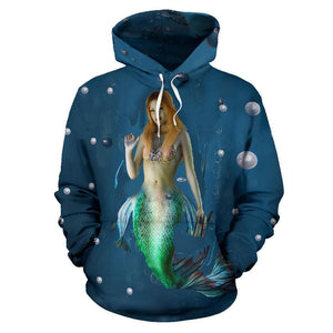 Mermaid In The Blue Hoodie Womens And Youths