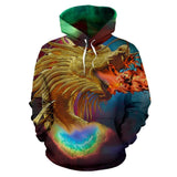 Galaxy Universe Fire Breathing Dragon Hoodie For Men Women or Children