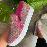 2021 New Women Flat Loafers Woman Rhinestone Shoes Female Autumn Casual Platform Women's Glitter Design Slip On Shoes Plus Size