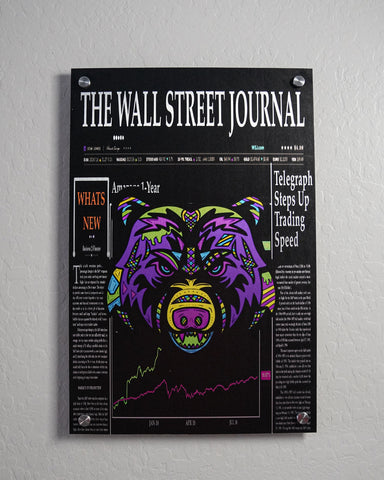 Wall Street Bear Aluminum Art ( Vertical)