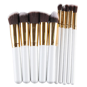 Set 10 pensule machiaj profesionale Golden White