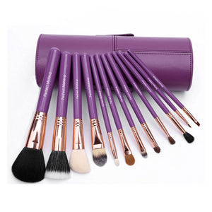 Set 12 pensule machiaj profesionale Luxury Purple