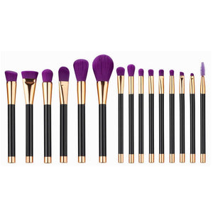 Set 15 pensule profesionale machiaj Purple Edition