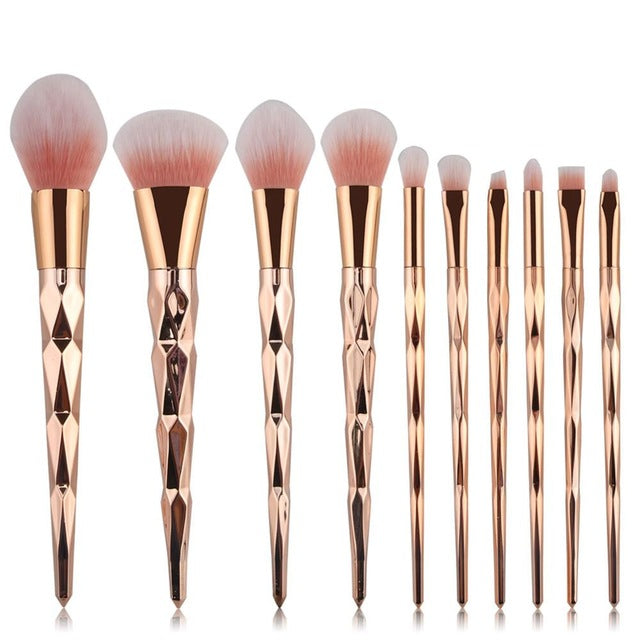 Set 10 pensule make-up profesionale Diamond Gold
