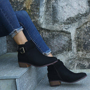 Low Heel Women's Ankle Boots with Buckle