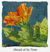 Ahead of Its Time throw pillow, prickly pear throw pillow front, Heidi Rosner