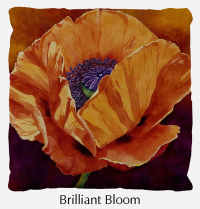 Brilliant Bloom throw pillow, poppy throw pillow front, Heidi Rosner