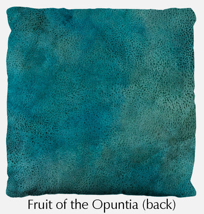 Fruit of the Opuntia throw pillow, prickly pear throw pillow back, Heidi Rosner
