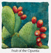 Fruit of the Opuntia throw pillow, prickly pear throw pillow front, Heidi Rosner